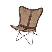 Chaise papillon 76x76x90 cm en toile et cuir marron