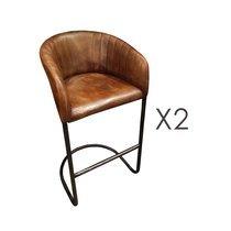 Lot de 2 chaises de bar vintage 54x55x100 cm en cuir et métal