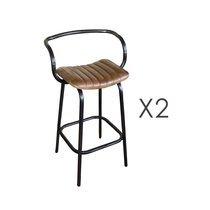Lot de 2 chaises de bar industrielles 50x50x92 cm en cuir et métal