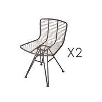 Lot de 2 chaises industrielles 53x45x74,5 cm en métal