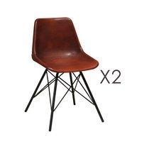 Lot de 2 chaises 49x52x78 cm en cuir marron et métal