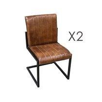 Lot de 2 chaises 51x51x87 cm en cuir marron et métal