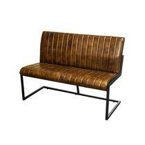 Banquette 120x65x86 cm en cuir marron et métal