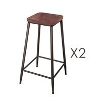 Lot de 2 tabourets de bar en bois rouge et métal - MARVIN