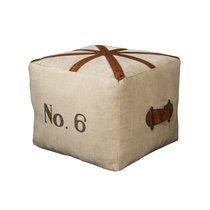 Pouf carré 40x33 cm avec drapeau anglais en coton et cuir