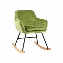 Fauteuil à bascule 75x59,5x78,5 cm en velours vert clair - ALVIN