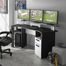 Bureau gamer avec leds intégrés décor anthracite et blanc