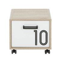 Chevet 1 porte décor chêne sonoma et blanc - THEO