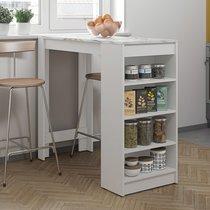 Table de bar avec rangements piètement blanc et plateau effet marbre