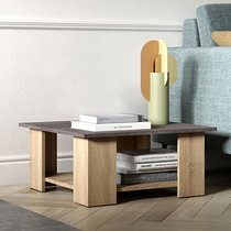 Table basse 67x67x31 cm chêne et plateau béton - MODERN