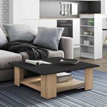 Table basse 89x67x31 cm chêne et plateau noir - MODERN