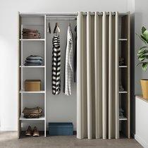Dressing extensible 2 colonne chêne blanc rideau écru - CLOTHES