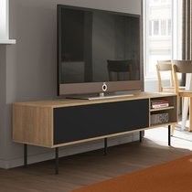 Meuble TV 165x48x40 cm décor chêne et noir