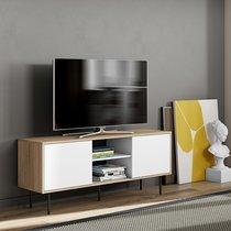 Meuble TV 151x62x40 cm décor chêne et blanc