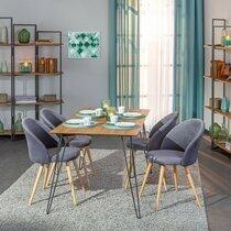 Table à manger 140x80x75 cm décor chêne et pieds métal