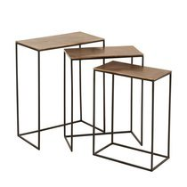 Lot de 3 tables d'appoint 53, 48, 43 cm en aluminium marron et noir