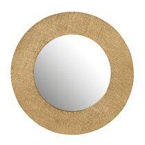 Miroir rond 70 cm effet jute doré - FAIRY