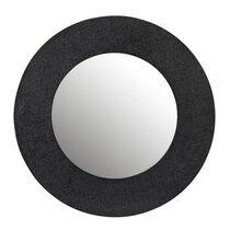Miroir rond 70 cm effet jute noir - FAIRY