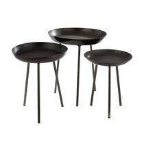 Lot de 3 tables d'appoint rondes 50, 44 et 38,5 cm en métal gris foncé