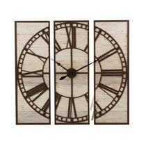 Horloge 3 parties 114 cm avec chiffres romains en bois blanchi et marron