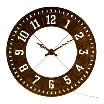Horloge ronde avec LED 143,5 cm en métal marron