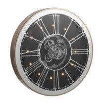 Horloge ronde 80 cm avec LED noir et champagne