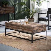 Table basse 120x60x46 cm en bois recyclé et métal - TYLIAN