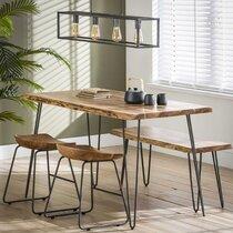 Table à manger 130 cm avec 2 tabourets et 1 banc en acacia