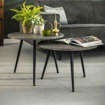 Lot de 2 tables basses rondes en métal gris