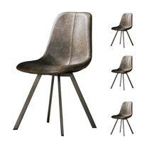 Lot de 4 chaises repas 58x46x87 cm en PU taupe