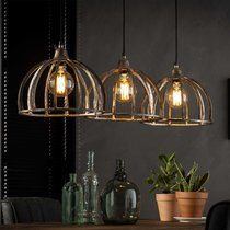 Suspension 3 lampes vintage avec abat-jour en métal gris antique