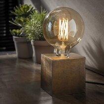 Lampe de table piétement block 10x10x10 cm bronze antique