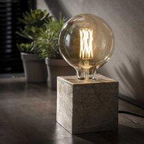 Lampe de table piétement block 10x10x10 cm gris antique