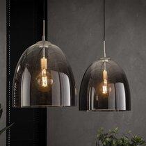 Suspension 2 lampes diamètre 40 cm en verre ombré et métal