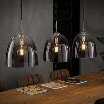 Suspension 3 lampes diamètre 33 cm en verre ombré et métal