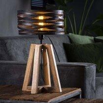 Lampe de table avec abat-jour en métal et piètement bois - BLAKE