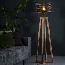Lampadaire avec abat-jour en métal et piètement bois - BLAKE