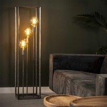 Lampadaire 3 lampes 30x30x120 cm en métal finition argent vieilli