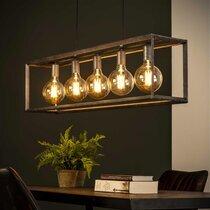 Suspension 5 lampes 110x20x150 cm en métal finition argent vieilli