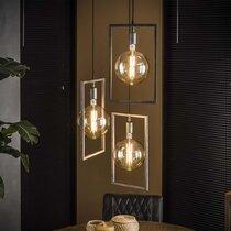 Suspension 3 lampes 56x56x150 cm en métal finition argent vieilli