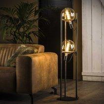Lampadaire 2 lampes H130 cm en métal finition argent vieilli - NEPTUNE