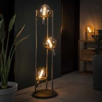 Lampadaire 3 lampes H133 cm en métal finition argent vieilli - NEPTUNE