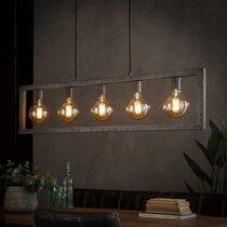 Suspension industrielle 5 lampes 120x12x150 cm en métal argent vieilli