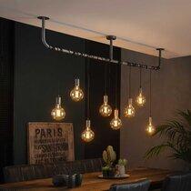 Suspension 8 lampes suspendues 176 cm en métal finition argent vieilli