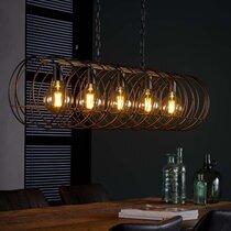 Suspension 5 lampes ronde 120x30x169 cm en métal gris foncé - SPARY