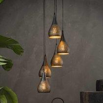Suspension 5 lampes forme gouttes 15 cm en métal noir et bronze