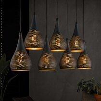Suspension 7 lampes forme gouttes 15 cm en métal noir et bronze