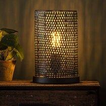 Lampe de table ronde 20x30 cm en métal noir vieilli - HEDEL