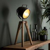 Lampe de table spot 28x28x60 cm en métal noir et manguier naturel