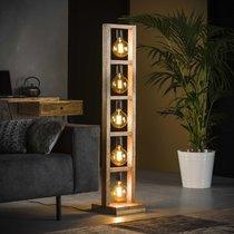 Lampadaire 5 lampes 28x28x135 cm en métal et acacia naturel